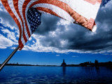 American Flag and Uss Missouri at Pearl Harbour  USA