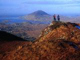People on Slopes of Diamond Hill in Connemara National Park  Connemara  Ireland