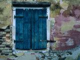 Painted Stucco Wall and Wooden Shutter  Corfu Island  Ionian Islands  Greece