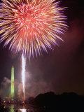 Fireworks Above Washington Monument on 4th of July  Washington DC  USA