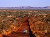 Car on Outback Road  Karijini National Park  Australia