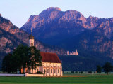Church of St Coloman with Neuschwanstein Castle in Background  Schwangau  Bavaria  Germany