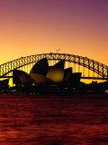 Sydney Opera House and Sydney Harbour Bridge at Sunset  Sydney  Australia