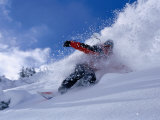 Snowboarder Carving Through Powder Snow  St Anton Am Arlberg  Tirol  Austria