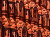 Facade of Carved Stone Windows on Hawa Mahal  Palace of the Winds  Jaipur  Rajasthan  India