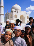 Group of Boys with Taj Mahal in Background  Looking at Camera  Agra  India