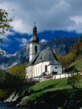 Ramsau Church Above Ramsauer Arche Stream  Berchtesgaden  Germany