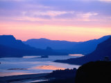 Sunrise Over Columbia River Gorge and Vista House Monument  Columbia River Gorge  USA