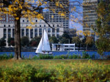 Sailing off the Esplanade on the Charles River  Boston  Massachusetts  USA
