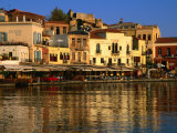 Morning Sunlight on Buildings on Harbour Hania  Crete  Greece