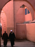 Two Men Walking along a Covered Street in the Medina  Marrakesh  Morocco