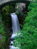 Christine Falls Through the Arch of a Stone Bridge  Mt Rainier National Park  USA