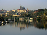 Prague Castle and Strahov Monastery Reflecting on Vltava River  Prague  Czech Republic