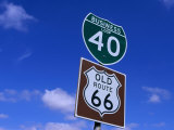 Road Sign on Old Route 66 at Texas-New Mexico Border  USA