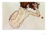 Crouching Nude, Back View, 1917 Giclée par Egon Schiele