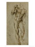 Nude Male Figure Seen Frontally  circa 1502-1506