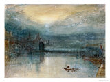 Lucerne by Moonlight: Sample Study, Circa 1842-3, Watercolour on Paper Giclée par J. M. W. Turner
