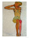 Nu féminin assis au bras droit levé Giclée par Egon Schiele