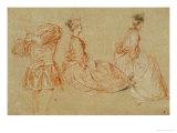 A Flutist  Two Women  Red Chalk  White Wash
