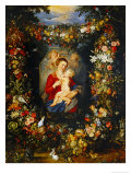 And Jan Brueghel: Mary Virgin and Child with Wreath of Flowers and Fruits