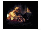 Jacob Blessing His Grandchildren Ephraim and Menasse  Parents Joseph and Anasth
