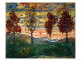 Quatre arbres, 1917 Reproduction d'art par Egon Schiele