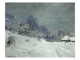 Landscape Around Honfleur  Snow  circa 1867