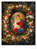 Virgin and Child with Angels Amonst a Garland of Flowers  Medaillon Rubens