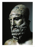 Riace Bronze (B)  Head of Bronze Statue of a Young Man with Helmet  Detail