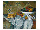 Fruit Bowl and Plate with Biscuits, circa 1877 Giclée par Paul Cézanne