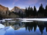 Half Dome Above River and Winter Snow  Yosemite National Park  California  USA