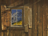 Reflection of Mountain and Forest in Window of Old Cabin  Uncompahgre National Forest  Colorado