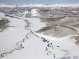 Aerial View of Two Rivers Joining in Valley  Kronotsky Zapovednik Reserve  Russia