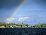 Rainbow Over Vershinino C18th St Nikola Chapel  Kenozersky National Park Lake Kenozero  Russia