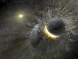 A Massive Collision of Objects Smashed Together to Create the Dust Ring Around the Nearby Star Vega