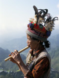 Ifugao Person Playing a Pipe, Northern Area, Island of Luzon, Philippines, Southeast Asia Papier Photo par Bruno Barbier