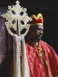 Portrait of a Man Holding a Christian Symbol  Bieta Golgotha  Lalibela  Wollo Region  Ethiopia