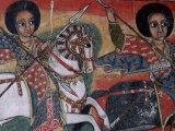 Wall Paintings in the Interior of the Christian Church of Ura Kedane Meheriet  Lake Tana  Ethiopia