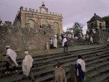 Christian Pilgrims, Easter Festival, Sainte Marie De Sion, Axoum, Tigre Region, Ethiopia Papier Photo par Bruno Barbier
