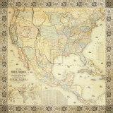 Carte de l'Amérique du Nord Reproduction d'art par Jacob Monk