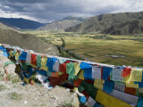 Prayer Flags and View Over Cultivated Fields  Yumbulagung Castle  Tibet  China