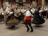 Dancing the Jota During the Fiesta Del Pilar  Zaragoza  Aragon  Spain