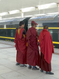 Lamas Awaiting Arrival of Train  New Railway Station  Beijing to Lhasa  Lhasa  Tibet  China