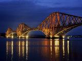 Forth Railway Bridge at Night  Queensferry  Edinburgh  Lothian  Scotland  United Kingdom