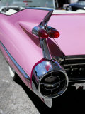Close-Up of Fin and Lights on a Pink Cadillac Car