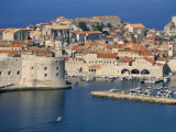 Aerial View of Harbour and Old City  Dubrovnik  Unesco World Heritage Site  Croatia