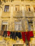 Washing Line of Colourful Laundry in Old Town Buzet  Hilltop Village  Buzet  Istria  Croatia