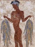 Fresco of a Fisherman from Akrotiri, Island of Santorini, Greece Papier Photo par Gavin Hellier