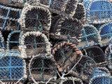 Lobster Pots in Fishing Harbour at Loguivy  Cote De Granit Rose  Cotes d'Armor  Brittany  France