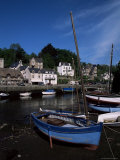 Blue Sailing Dinghy and River Aven  Pont-Aven  Brittany  France